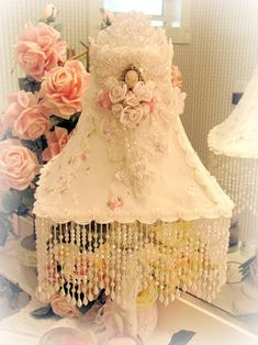 Beaded Lampshade Victorian Chic Rose and Shabby Cottage Lamp Shades
