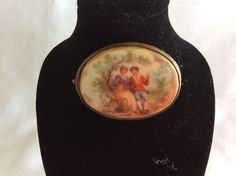 Antique oval porcelain cameo brooch Fragonard Courting couple scene by lizfinestcollection on Etsy