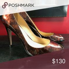 """Jean-Michel Cazabat Jenni Tortoise Shell High Heel Authentic Jean-Michel Cazabat! Guaranteed! These head turning heels are a Rare & Hard to Find style!  Leather upper, leather sole, leather lining & nicely padded insole.  Rounded toe. Gold accent on heel. 3.5"""" heel. Shoes Heels"""
