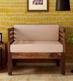 Stigen Solid Wood 1 Seater Sofa In Provincial Teak Finish By Woodsworth With Images Single Seater Sofa Single Sofa Chair