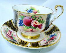 PARAGON FRUIT BLACK GOLD TEA CUP AND SAUCER