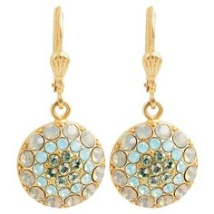 Check out this item at One Kings Lane! Round Multicolor Pavé Earrings