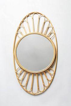 Midcentury Wicker Optic Mirror