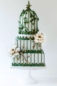 Wildflower Cakes London Virdigris birdcage wedding cake with vintage roses and wax flowers