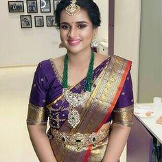 South Indian Wedding Saree, Indian Bridal Sarees, Wedding Silk Saree, South Indian Bride, New Blouse Designs, Silk Saree Blouse Designs, Lehenga Designs, Makeover Studio, Indian Fashion