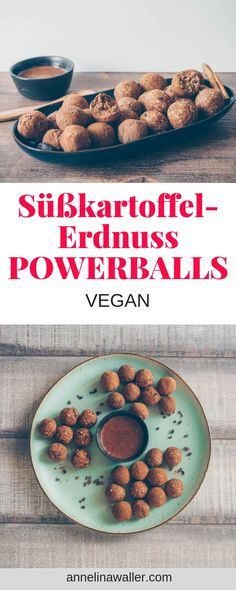 Süßkartoffel-Erdnuss-Powerballs, vegan Get your hands on these super healthy no blend sweet potato peanut bliss balls. No need for kitchen tools or skills. Vegan Dinner Recipes, Vegan Snacks, Gourmet Recipes, Baking Recipes, Snack Recipes, Healthy Recipes, Vegan Food, Powerballs Recipe, Vegan Teas