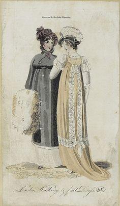 1804 Lady's Magazine 1800s Fashion, 18th Century Fashion, Vintage Fashion, Regency Dress, Regency Era, Yellow Ballgown, Mourning Dress, Empire Style, Historical Clothing