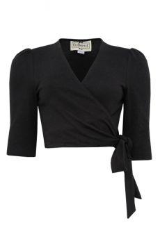 Jenny Plain Wrap Cardigan Black Cutout