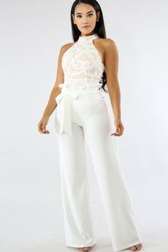 Women White Tie Waist Ruffles Zipper Casual Wide Leg Pants - S All White Party Outfits, All White Outfit, Dressy Outfits, White Pantsuit Wedding, Wedding Jumpsuit, Jumpsuit Dressy, Romper Outfit, Jumpsuits For Women, Wide Leg Pants