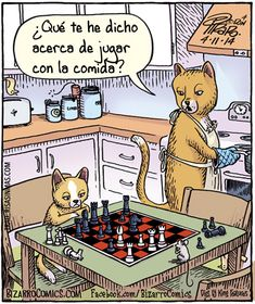 Spanish jokes for kids, chistes para niños. Visual joke that plays off the meaning of the Spanish phrase Jugar con la comida.