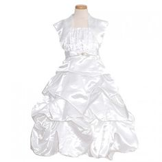 c9e2acc1eb3 Rain Kids White Satin Pick Up Pageant Dress Little Girls 2T-14 Toddler Girl  Dresses