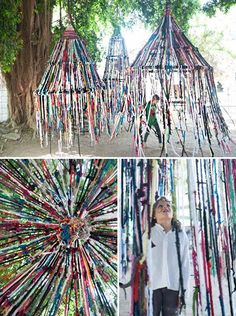 The intersection of art and finger knitting I saw this on Design Sponge over the weekend and was so wowed by it — both as a public art project and as a bit of DIY inspiration. It's the brainchild of architect Tali Buchler, who describes hers… Outdoor Art, Outdoor Play, Outdoor Lighting, Land Art, Art For Kids, Crafts For Kids, Summer Crafts, Teen Crafts, Fall Crafts