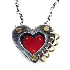 red mixed metal heart necklace