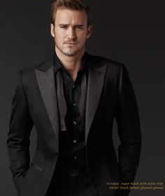 J. Hilburn Formal Collection! Beautiful super black and satin trim tuxedo with J. Hilburn's custom formal black shirt with a pleated spread.   Emily.Ehl@JHilburnPartner.com
