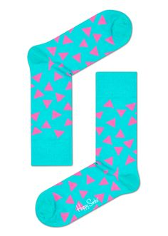 Blue Happy Socks with Bright Pink Triangles. Colorful Dress Socks for Men and Women.
