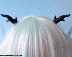 Pastel Goth Lolita Antlers Hair Clips (Black)