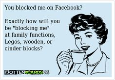 You blocked me on Facebook? Exactly how will you be blocking me at family functions, Legos, wooden, or cinder blocks?