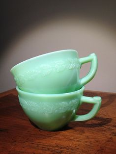Vintage 1930s McKee Jadeite Laurel Cups Set of Two by AtomicVault