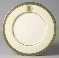 From a state service for Harry S. Truman (President 1945-1953)--Dinner Plate/Made in Trenton, New Jersey, United States, North and Central America c.1951--Made by Lenox Incorporated, Trenton, New Jersey, 1889 - present. Ordered from B. Altman and Company, New York, 1865 - 1989. Porcelain with enamel and gilt decoration. Diameter: 10 5/8 inches (27 cm)