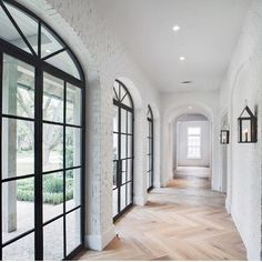 I'm off to the mountains for Spring Break so I'll be a little MIA this week! Leaving you with this jaw dropper by @cusimanoarchitect as a little sneak peek of some things to come! Steel Windows + herringbone wood floors + white brick. Some exciting design projects are brewing!