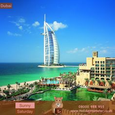 Here is our #SunnySaturday for our #DestinationOfTheWeek #Dubai Here you can see the most luxurious hotel in the world the #burjalarab