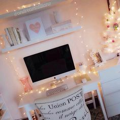 #white #desk #christmas #lights #girly #office #decor #bright #imac #floatingshelves #ikea #target #holidays #christmastree #minitree #holidaydecor #christmaslights #diy