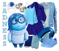 """Sadness"" by janastasiagg ❤ liked on Polyvore featuring Filles à papa, West Coast Jewelry, McGuire, STELLA McCARTNEY, Disney, Maison Margiela, Alison Lou, Sadness, disney and disneybound"