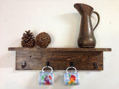 Rustic wood wall mug rack with shelf, distressed wall coat rack, rustic coat hooks, wall mug holder, towel rack