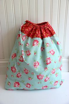 Lingerie bag blue and pink floral laundry bag by NutmegNaturalsCT