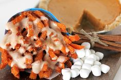 Another amazing creation from French Fry Heaven. Sweet potato fries dressed up as pumpkin pie! French Fry Heaven, Belgian Style, Marshmallow Creme, Pumpkin Pie Spice, French Fries, Sweet Potato, Caramel, Sweet Tooth, Spices