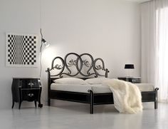 Italian designer Queen/King bed handmade in black Cherrywood. This traditional furniture collection combines a unique French and Italian design.