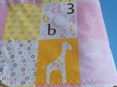 Baby blanket pink with a cute baby giraffe by MissyCraftsandGoods
