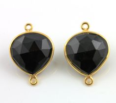 Natural Black Onyx Bezel Connector Heart Shape by Beadspoint, $7.99