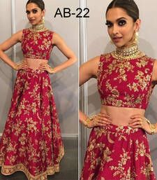 Buy Pink embroidered taffeta silk unstitched lehenga bollywood-lehenga online