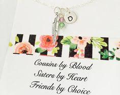 Sale, Cousin Necklace, Birds of a Feather, Personalized Cousin Necklace, Feather Necklace, Gift for Cousin, Best Friend