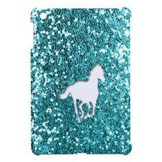 =>>Cheap White Horse on Aqua Glitter Look Cover For The iPad Mini White… Cute Ipad Cases, Ipad Mini Cases, Horse Barns, Horses, Ipad 1, Shopping Sites, Ipad Covers, Aqua, Girly