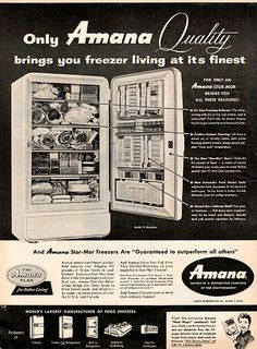 1956 Amana Freezer Appliance Original Home and Office Print Ad-An original vintage 1956 advertisement, not a reproduction-Measures approximately x Vintage Humor, Vintage Ads, Vintage Prints, Office Prints, Funny Ads, Ginger Ale, Tv Commercials, Retro Design, Print Ads