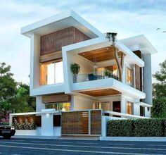 Modern Small House Design, Modern Exterior House Designs, Latest House Designs, Dream House Exterior, Exterior Design, Modern Design, Exterior Colors, Modern Bungalow Exterior, 3 Storey House Design