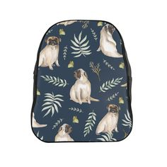 Our leafy pug design is a unique watercolor pattern featuring an adorable pug, butterflies and tropical leafs. Our stylish backpack features our unique design a Pug Accessories, Stylish Backpacks, Watercolor Pattern, Pugs, Butterflies, Tropical, Unique, Blue, Design