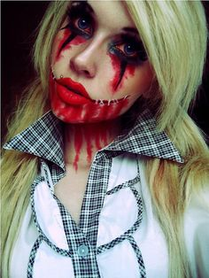 scary-halloween-makeup-bloody-face-school-girl from: http://www.diy-enthusiasts.com/diy-fashion/halloween-makeup-ideas-men-women-kids/