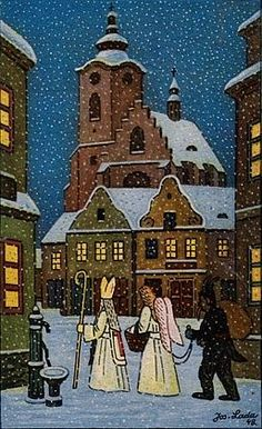 Christmas Illustration, Illustration Art, Saint Nicholas, Christmas Aesthetic, Cozy Christmas, Vintage Christmas Cards, Cool Posters, Typography Prints, Christmas Pictures