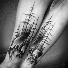 Shaded Inner Arm Tree Tattoo with Wolf. This tree tattoo have been incorporated with the symbol of wolf, that represents powerful energy. When the wolf is combined with the tree tattoo, it would reflect the powerful life with strength and longevity.