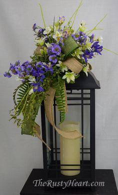 Everyday Lantern Side Swag by TheRustyHeart on Etsy Lanterns With Flowers, Fall Lanterns, Lanterns Decor, Candle Lanterns, Diy Lantern, Candles, Beautiful Flower Arrangements, Floral Arrangements, Flower Decorations