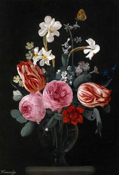 Carstian Luyckx ANTWERP 1623 - AFTER 1658 A STILL LIFE OF TULIPS, ROSES, DAFFODILS AND OTHER FLOWERS, WITH BUTTERFLIES, IN A GLASS VASE ON A STONE LEDGE oil on oak panel 42.1 by 29 cm.; 16 5/8  by 11 3/8  in.