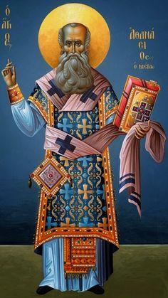 Novena to Saint Athanasius, Who Upheld the Faith with The Athanasian Creed: April 23 - May 1 Religious Icons, Religious Art, Anthony The Great, St Athanasius, Church Icon, Byzantine Icons, Icon Collection, Catholic Saints, Orthodox Icons