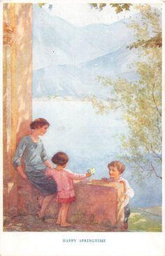 Margaret Tarrant - Springtime of Life - Old Vintage Postcard - children & mother