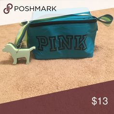 A PINK blue and green cooler It is a blue and green cooler with a PINK dog included PINK Victoria's Secret Bags Mini Bags
