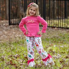 Girls Hot Pink Multi Color Christmas Pant Set – Lolly Wolly Doodle