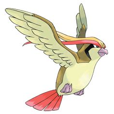 Pidgeot - 018 - When hunting, it skims the surface of water at high speed to pick off unwary prey such as Magikarp. It spreads its gorgeous wings widely to intimidate enemies. It races through the skies at Mach-2 speed.  @PokeMasters.net