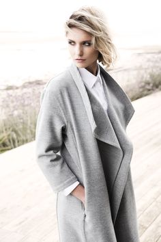 Draped grey coat by Carolyn Donnelly The Edit What To Wear, Women Wear, Dressing, Pullover, Sweaters, Fashion Design, Shopping, Collection, Coats